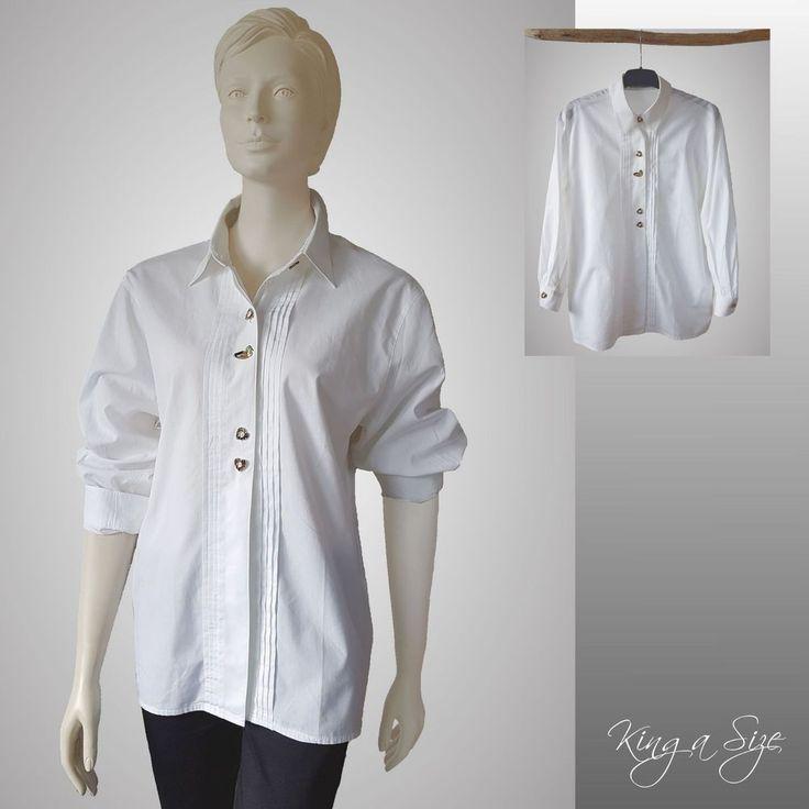 bianca - Trachten Bluse bestickt Hemdbluse Hemd Lange Arm Gr.40 weiß