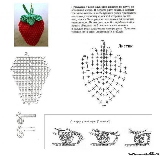 Вязаные поделки крючком со схемами для кухни