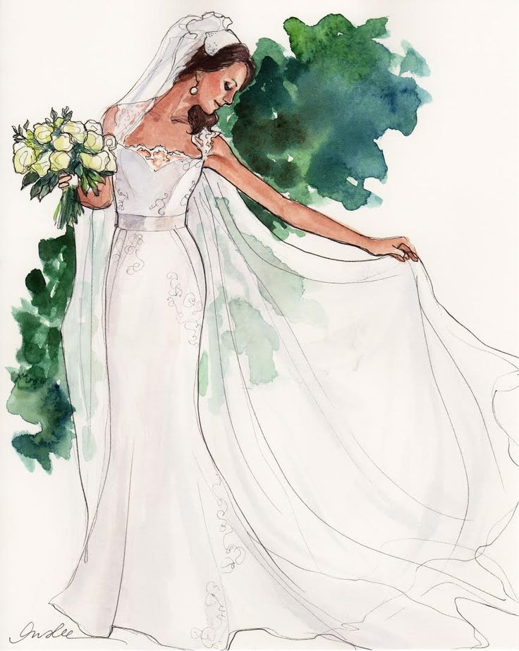 Wedding dress fashion illustration pinterest braut Wedding dress illustration