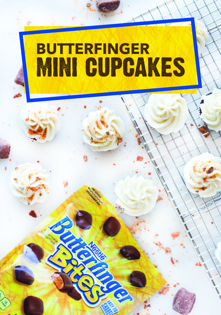 Fill the dessert cart at your next gameday party with rich and flavorful treats, including this recipe for Butterfinger Mini Cupcakes. With a chocolate base and vanilla frosting, each cupcake is topped with chopped up pieces of BUTTERFINGER® Bites for a crispety, crunchety, peanut-buttery taste.