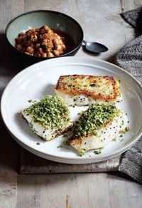 Baked cod with green spices