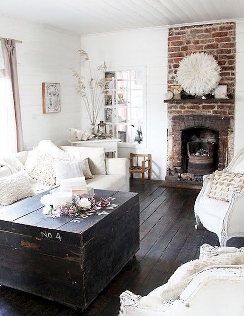 white, wood, exposed brick. perfection.