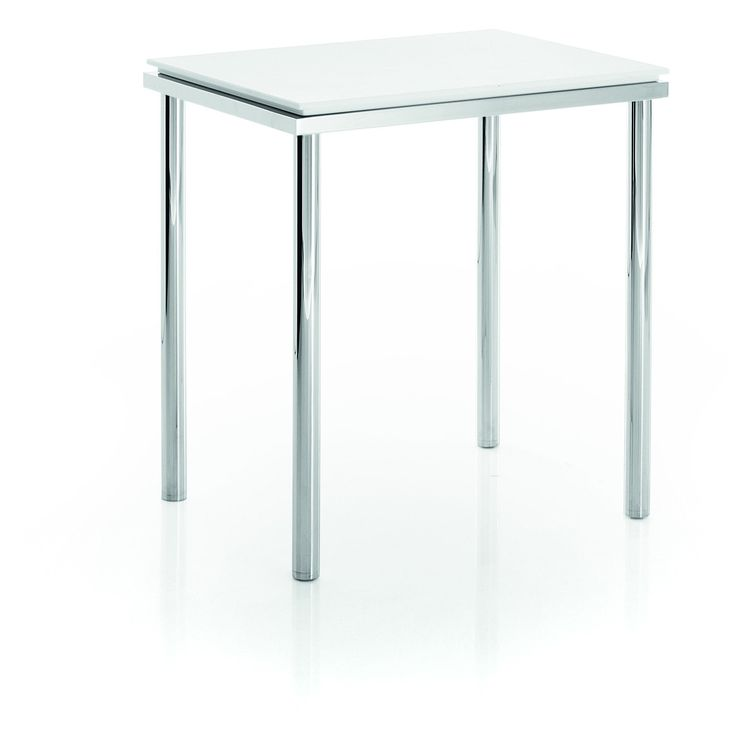 LB Backless Vanity Stool Bench for Bath Bedroom W/ Chrome Legs Mattstone Seat