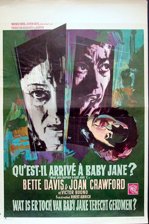 What Ever Happened To Baby Jane? Belgian movie poster. Art by Ray (Raymond Elseviers). Joan Crawford. Bette Davis