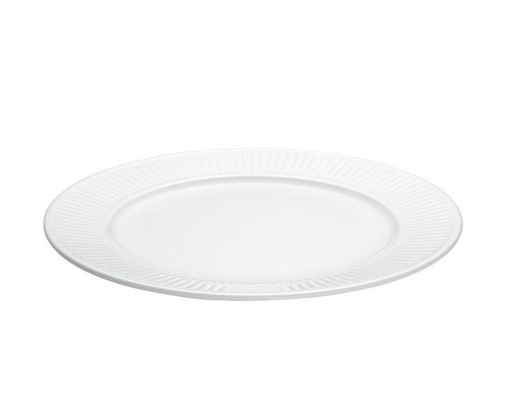 Plissé tallerken flad hvid - 22 cm