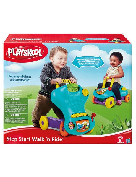 It's two toys in one! As a sturdy, stable walker, the Step Start Walk 'n Ride toy helps babies learn to stand, take their first steps, and walk. Then it easily converts to a first ride-on toy!