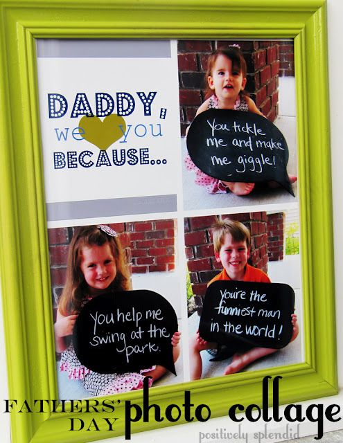 "Snap photos of your kiddos holding signs telling what they love most about their daddy (dad, papa, granddad, etc.).    Download one of the free ""We {heart} You"" files below, deciding which orientation and wording suits your needs."
