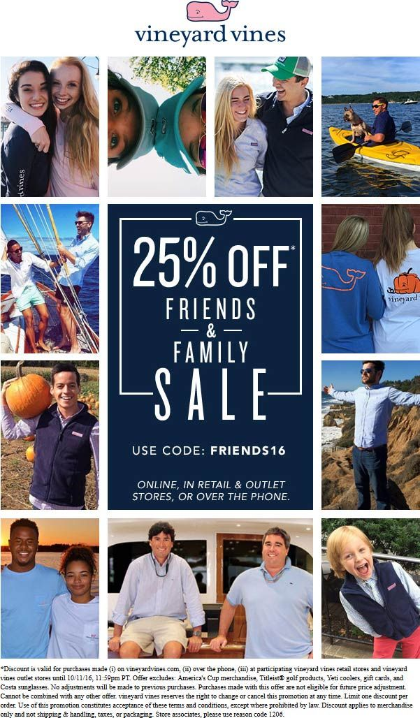 Pinned October 6th: 25% off at Vineyard #Vines or online via promo code FRIENDS16 #TheCouponsApp