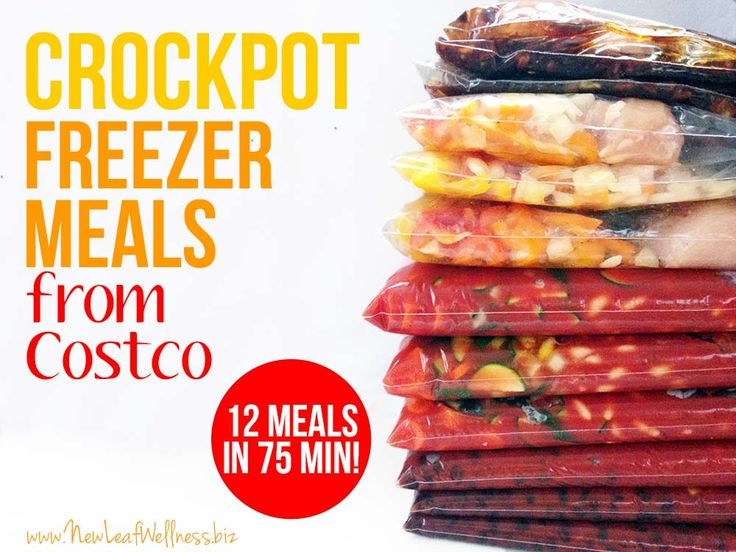 Crockpot freezer meals from Costco.  12 meals in 75 minutes!