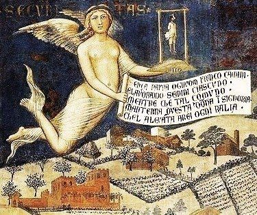 Ambrogio Lorenzetti (Italian artist, 1235-1348) Effects of Good Government in the Countryside (detail) Fresco, Palazzo Pubblico, Siena. 1337-40