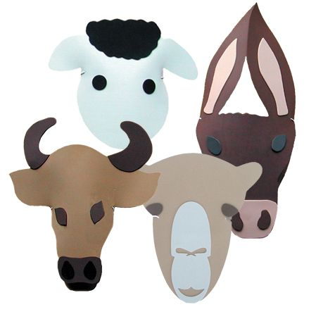 Nativity headpieces from the Childminding Shop. Sheep Donkey, Camel Cow Foam Masks for sitting on head rather than on the face Headpiece for use in Nativity plays