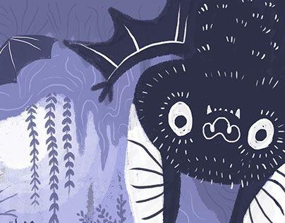 Bat Nursery Kids Illustration #bat #illustration #halloween #kids #children #cute #magazine #editorial #book #purple #decoration