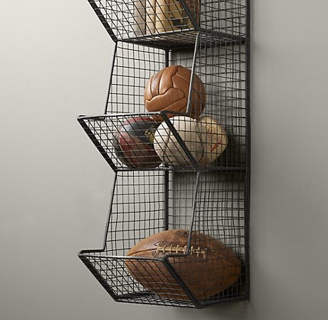 this industrial wire storage is reminiscent of the days at the neighborhood swimming pool.