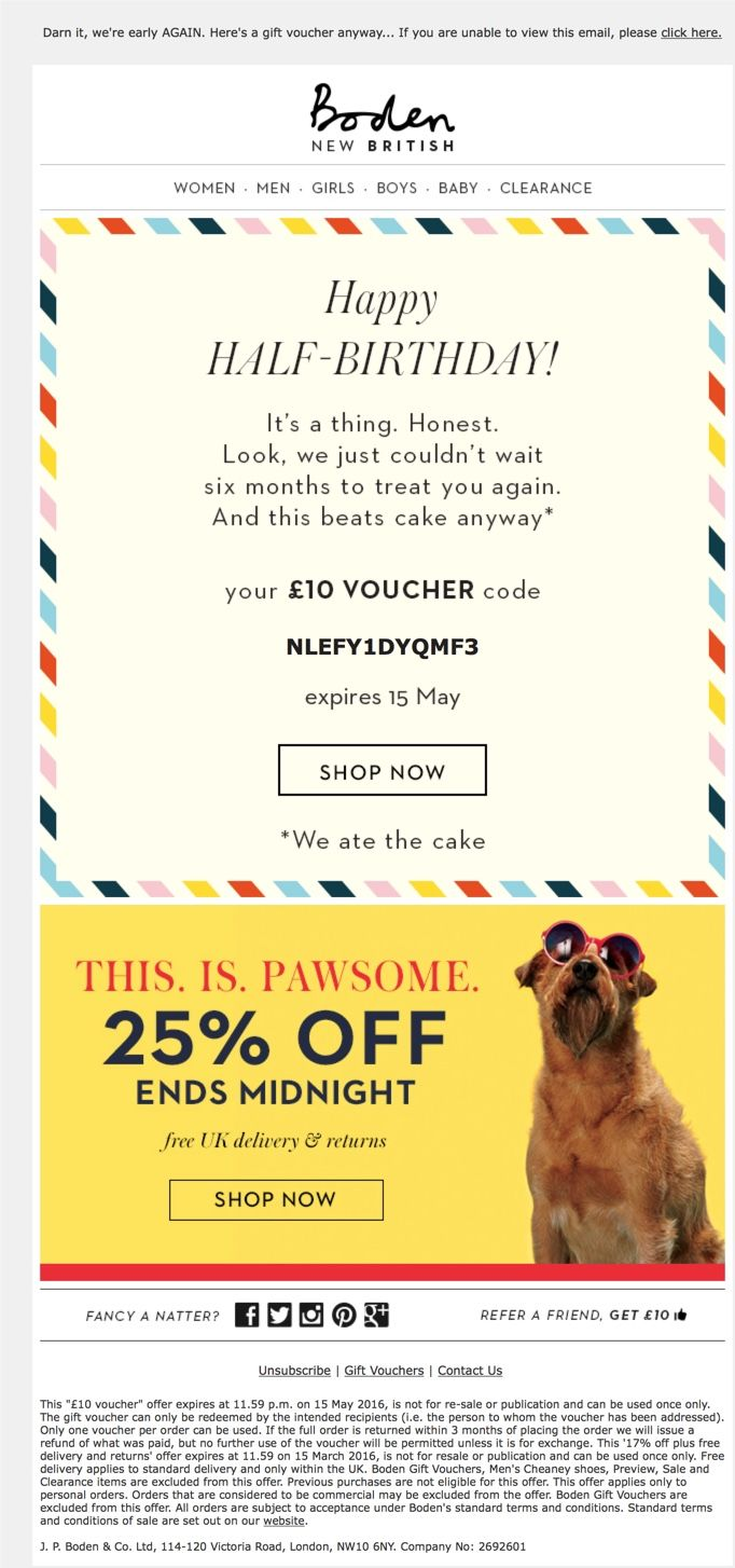 2016 Boden Email to celebrate customer's half birthday. Subject line: Happy birthday! Oh no. WAIT.