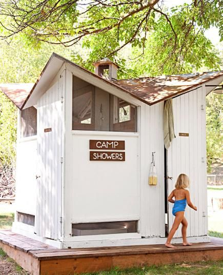 We Bought a Camp! | Midwest Living - Free outhouse-turned-shower building from an old Girl Scout Camp! PERFECT!!