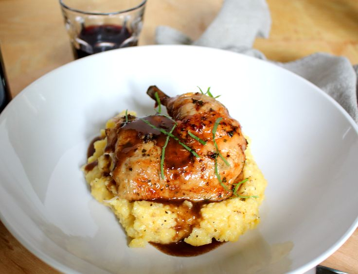 Sounds interesting:  Roast Chicken with Red Wine Demi-Glace and Polenta