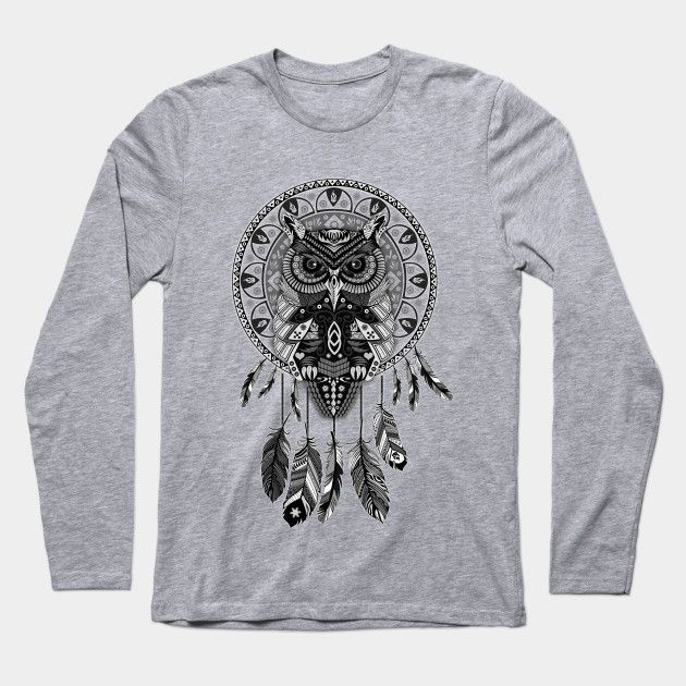 OwL Dream Catcher Black and White Long Sleeve T-Shirt #LongSleeve #TShirt #tee #clothing #dreamcatcher #thedayofthedead #halloween #mexico #sugarskull #mexicoskull #dayofdead #mexicanart #muertos #diadelosmuertos #indian #native #american #owl #pattern #skull #owls #chief #indianchief #birds