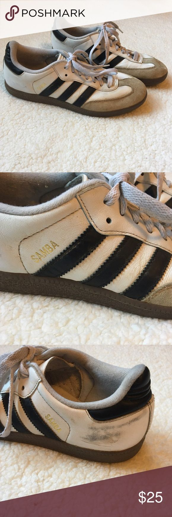 White and Black Adidas Sambas Suede front. Good preowned condition (the insoles look like new). A couple scuffs, the most noticeable is pictured. Size 6.5 Men's. Adidas Shoes Sneakers