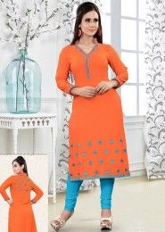 Party Wear Orange Rayon Embroidered Work Kurti