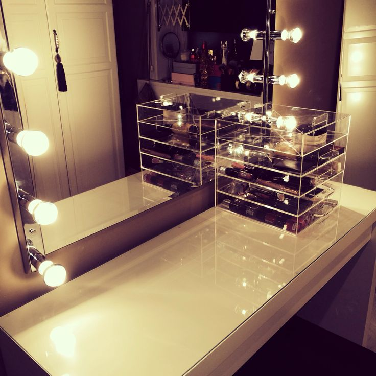My vanity with diy mirror and lamps still work in progress but i am already loving it ikea malm - Diy mirrored vanity table ...