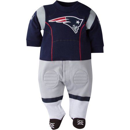 NFL New England Patriots Baby Boys Team Uniform Footysuit with Cleats, Infant Boy's, Size: 0 - 3 Months, Blue