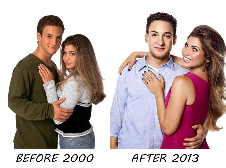 Photo of Cory  Topanga for fans of Girl Meets World. Before and Now