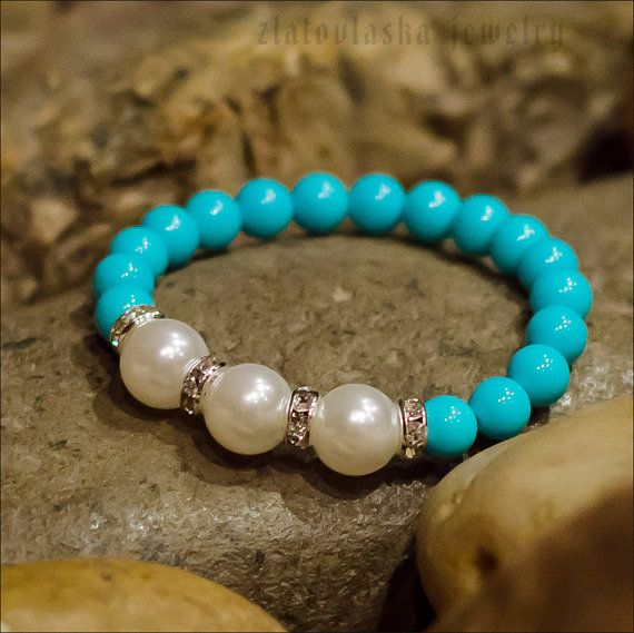 Blue & Pearl Beaded Bracelet by ZlatovlaskaJewelry on Etsy