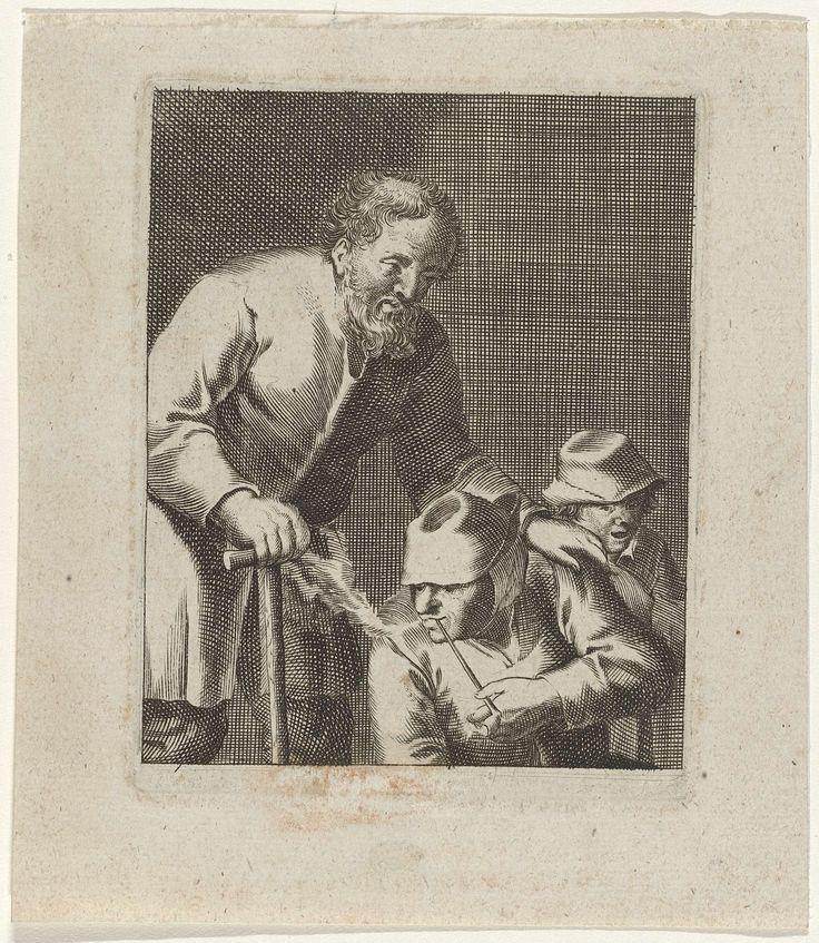 Jacques Dassonville | Drie figuren / La femme qui fume dit aussi les trois gueux marchant de compagnie, Jacques Dassonville, after c. 1630 - before 1670 | Staande man, leunend op stok. Pijp rokende zittende vrouw en jongen erachter.