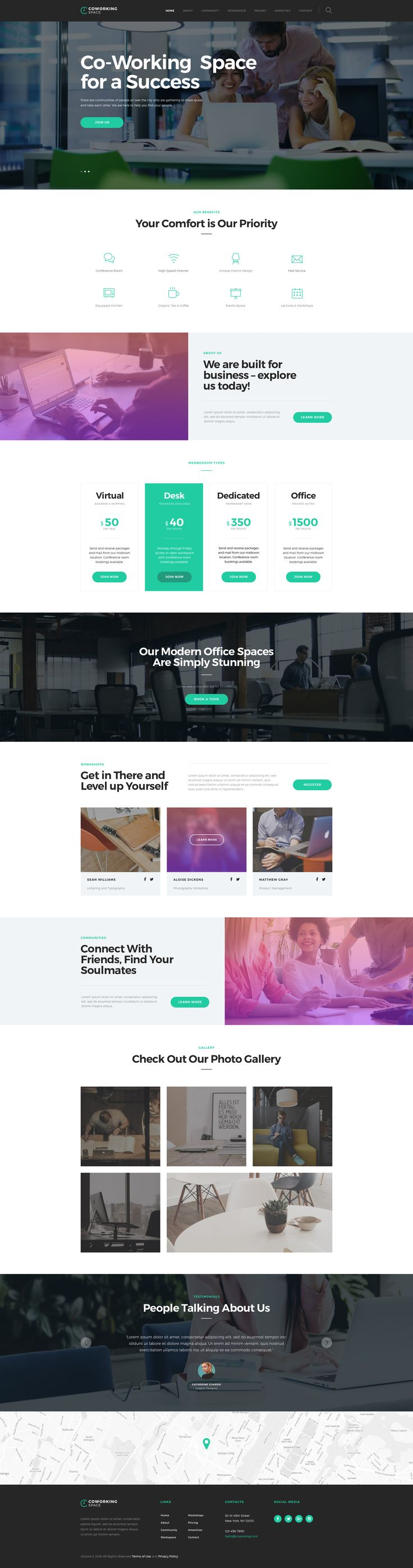 Coworking - Open Office & Creative Space WP Theme #wordpress #business #studio • Download ➝ https://themeforest.net/item/coworking-open-office-creative-space-wp-theme/15682678?ref=pxcr