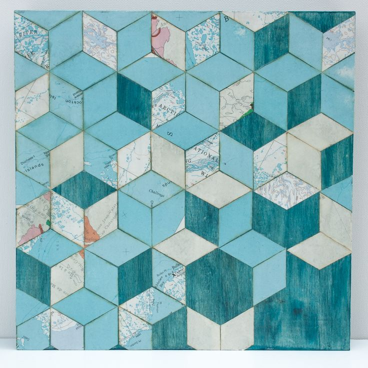 "10"" X 10"" X 1.5"" Necker Cube Map Collage on wood panel"