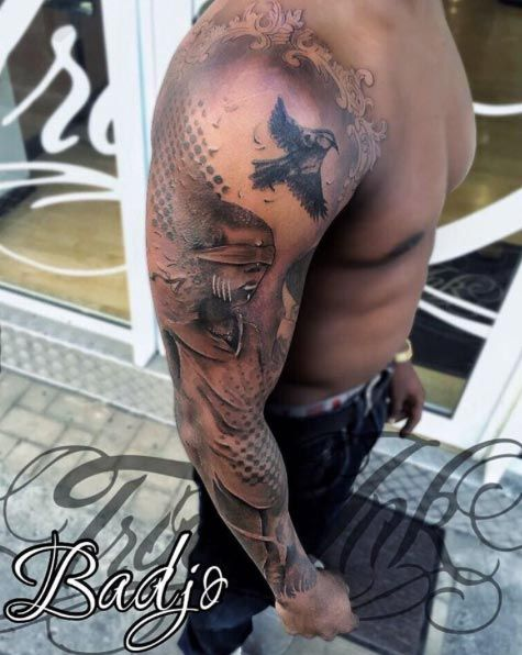 Halftone Full Sleeve Tattoo by Badjo