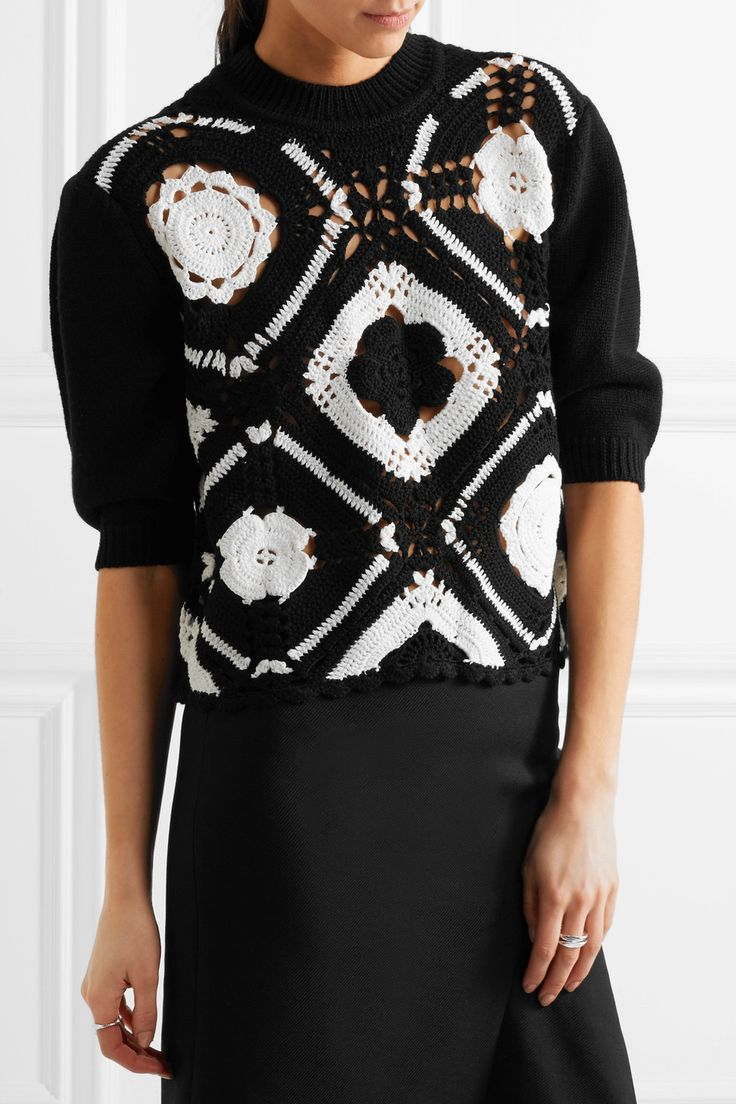 McQ Alexander McQueen | Crocheted wool and cotton-blend sweater | NET-A-PORTER.COM