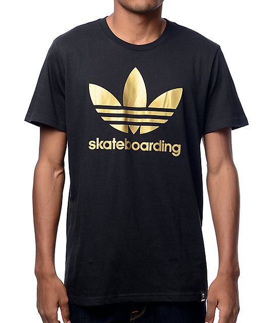 9804ad290 Add some flash to your style with the solid black t-shirt from adidas. This  black tee features a gold screen printed trefoil logo on the chest with the