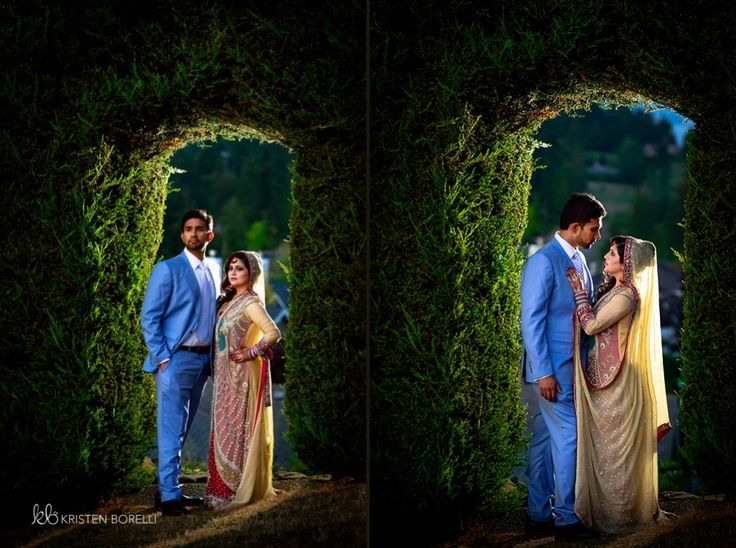 Bride and Groom in Pakistani Wedding Attire. Light Blue suit. (Kristen Borelli Photography, Pakistani Wedding, Vancouver Island Wedding Photography, Victoria Wedding Photography, Nanaimo Wedding Photography, Prince George Wedding Photography)