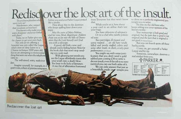 Wonderful press ad for Parker pens from copywriting legend Tony Brignull.