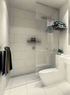 Large white tile grey grout brick bond bathroom