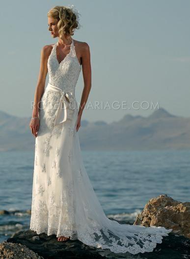 Robe de mariage pas cher plage robe de marée pas cher Prix : €134,99 Lien pour cette robe : http://www.robedumariage.com/ligne-a-bretelle-au-cou-ceiture-satin-dentelle-robe-de-mariee-product-1693.html    -40% sur robe de mariée robe de soirée cocktail