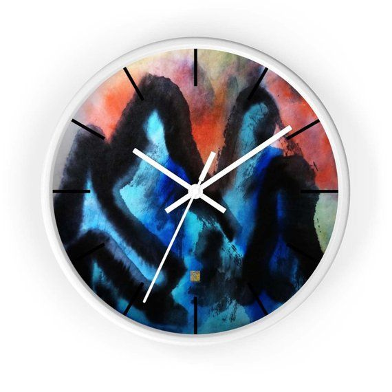 Blue Mountain Asian Contemporary Art Large Modern 10 Inch Wooden Wall Clock Made In Usa Kitchen Home Deco Wall Clock Large Wall Clock Modern Clock Wall Decor