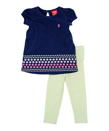 Love this Blue Flower Top & Cream Leggings - Infant & Toddler by IZOD on #zulily! #zulilyfinds