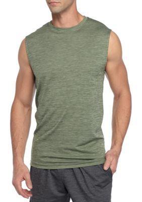 Sb Tech Men's Sleeveless Space-Dye Muscle Shirt - Olive Spring