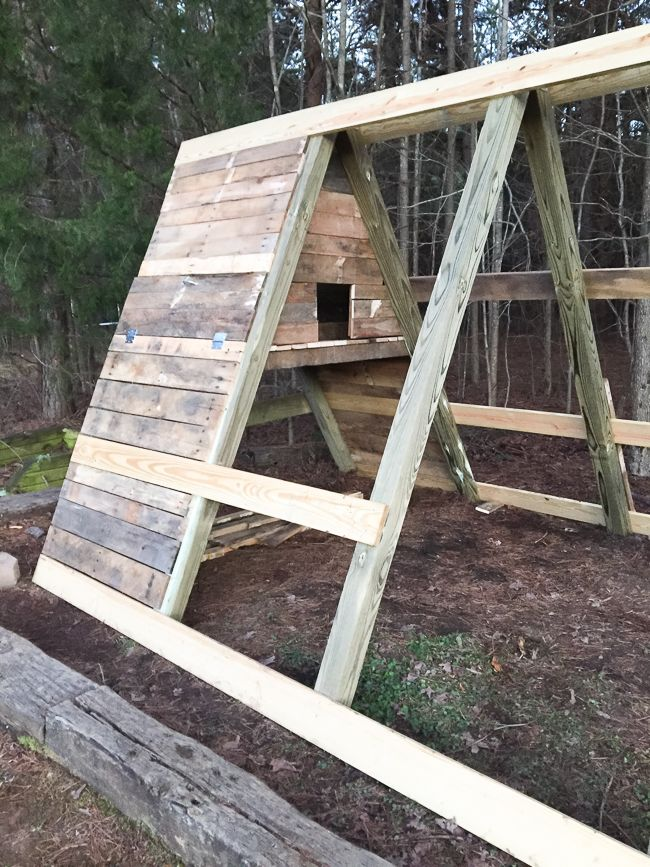 A-Frame Chicken Coop with Old Swingset & Pallet Wood | One Radiant Home