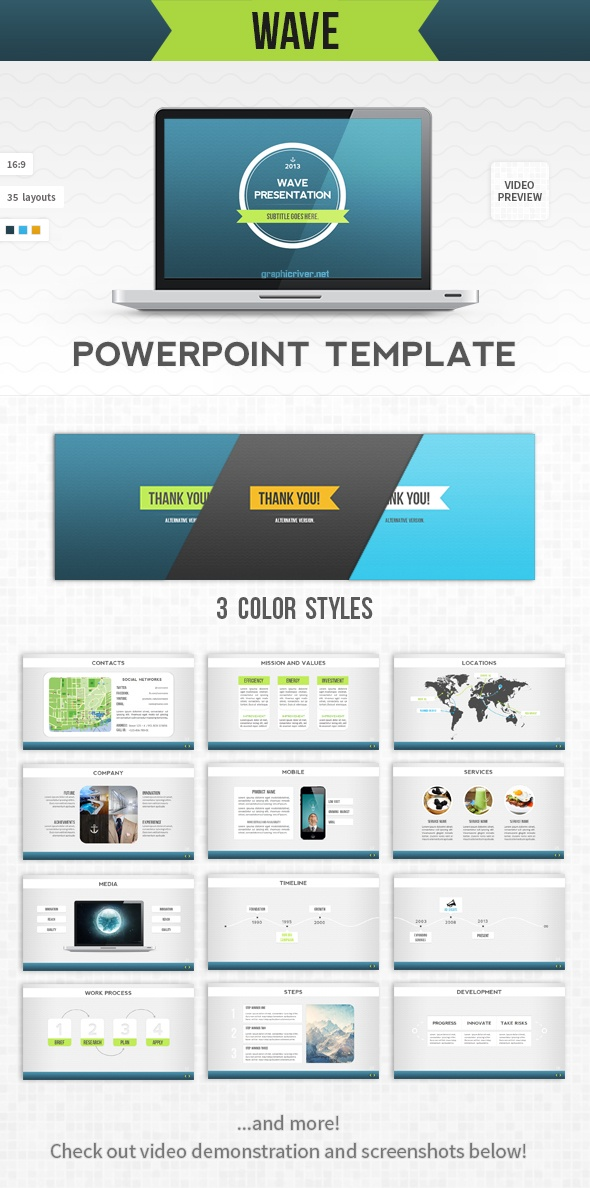 - Wave PPT -  Presentation template goes well with corporate, water, ecology, sea, shipping, tech and other themes.   Check this and more at: http://graphicriver.net/item/wave-powerpoint-template/4498781?ref=stunvisuals