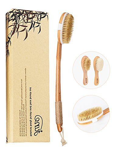 Natural Boar Bristle Body Brush and Soft Wool and Boar Bristle Face Brush Set for Wet  Dry Bath Brushing Shower Washing Excellent for Skin Exfoliating Cellulite Treatment and Lymphatic Massage >>> For more information, visit image link.-It is an affiliate link to Amazon. #SkinCareProducts