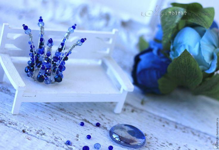 """Купить Мини корона """"Аквамарин"""". Корона из проволоки. Синяя корона - корона, диадема, обруч"""