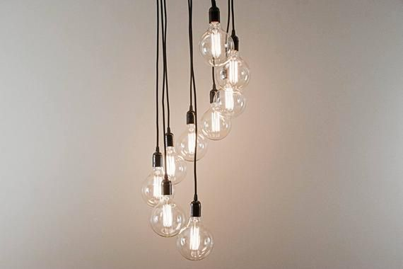 Edison Chandelier With 9 Pendant Lights Spiral Light