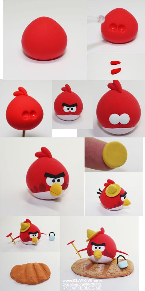 Tutoriel angry bird rouge 2 tutoriels de p te sucre pinterest polymers cakes and fimo - Angry birds rouge ...