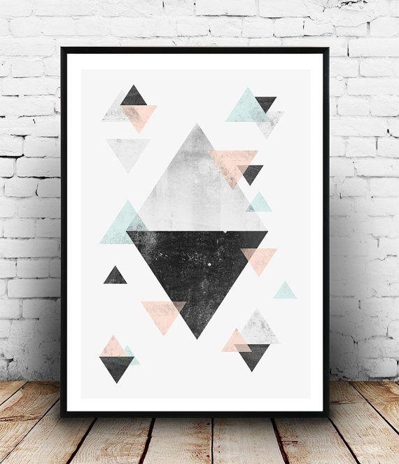 Dreiecke Wand Kunst geometrische Poster abstrakte von Wallzilla