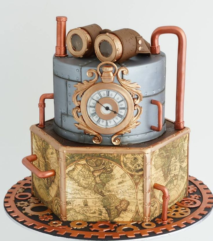Steampunk cake with distressed leather goggles with gelatin lens's, metal, bronze and copper trims and finishes, vintage world maps and clock.