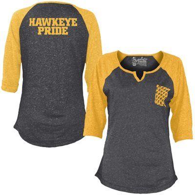Iowa Hawkeyes Women's Baja 3/4 Raglan Sleeve T-Shirt - Black
