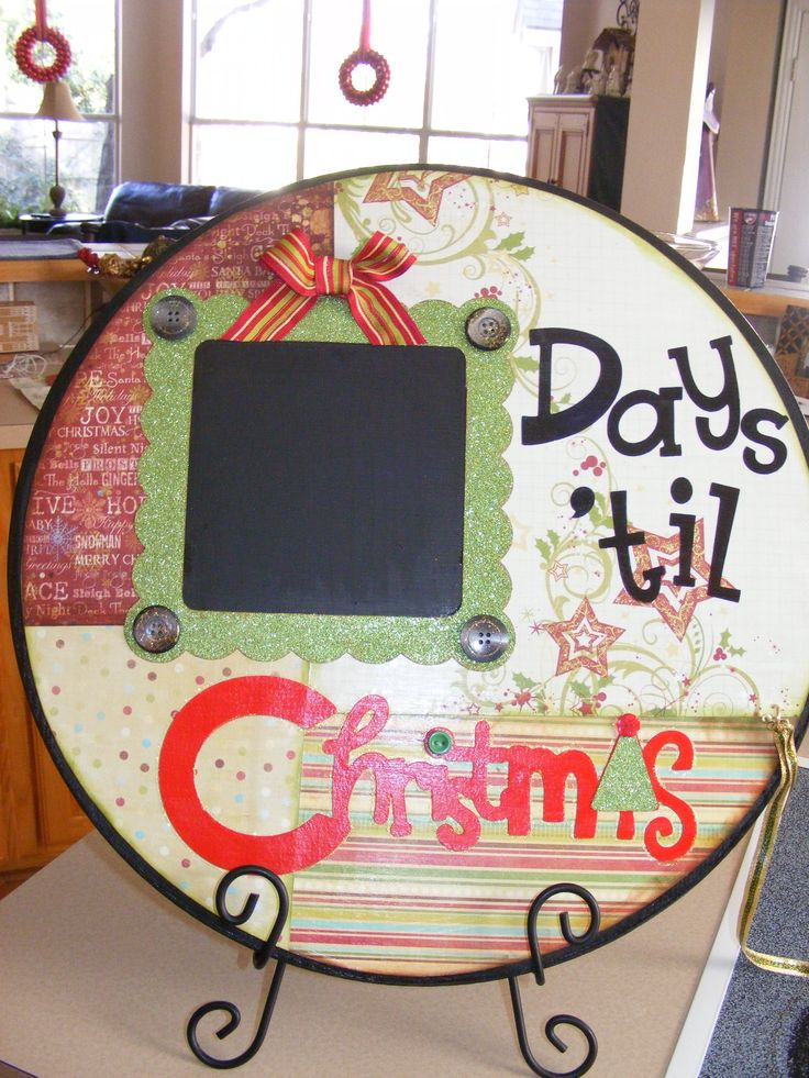 Christmas Count Down. Made this at The Little Blue House in Keller, Texas last year. My youngest son loves writing the days on the chalk board. Made by Saundra McCord